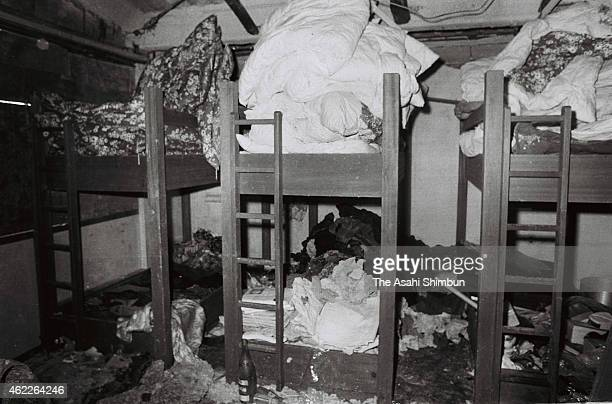 The internal view of the Asama Sanso holiday lodge where the United Red Army took a hostage and was sieged by police photographed on March 4 1972 in...