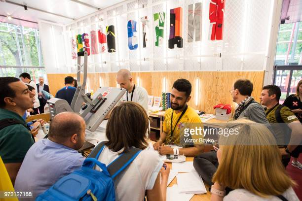The internal view of the custom jersey print studio at Box MSK at Gorky Park on June 12 2018 in Moscow Russia Brazil football icon Ronaldo and Russia...
