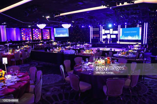 The International Ballroom is seen prior to the Saint John's Health Center Foundation Gala at The Beverly Hilton Hotel on October 20, 2018 in Beverly...
