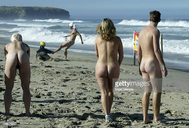The International Barbarians watch a teammate take a kick against the Kiwi Selection during the International Nude Touch Rugby match at St Kilda's...