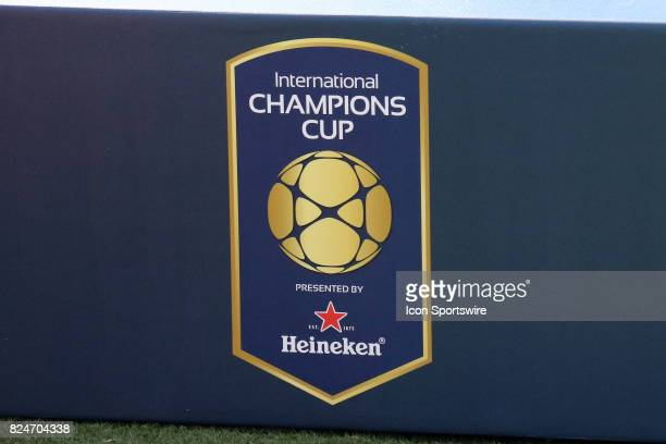 The International Champions Cup logo is on display at the game between Manchester City and Tottenham Hotspur Manchester City defeated Tottenham by...
