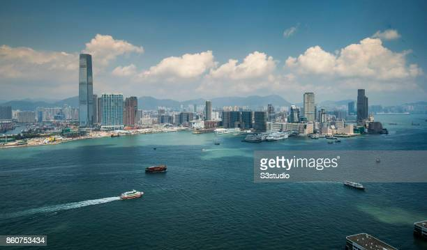 The International Commerce Centre in West Kowloon and Harbour City and Ocean Terminal in Tsim Sha Tsui are seen along the Victoria Harbour on 16...