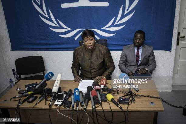 The International Criminal Court's chief prosecutor Fatou Bensouda holds a press conference during her visit to look into allegations of extreme...