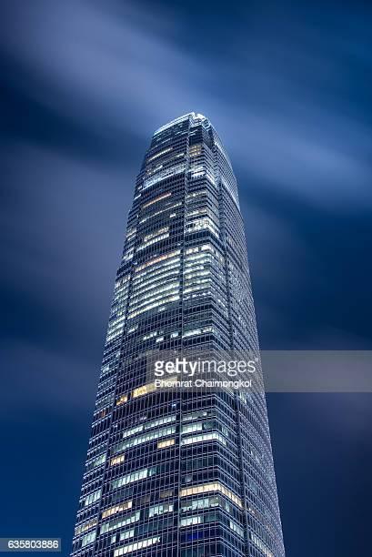 The International Finance Centre ( IFC) at night,Hong Kong