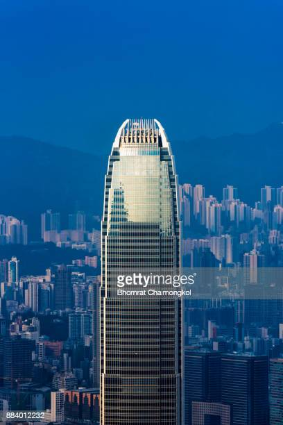 the international finance centre ( ifc) building in hong kong - two international finance center stock pictures, royalty-free photos & images
