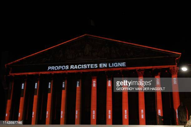 The International League against Racism and Antisemitism is projecting messages to denounce the increase of hate messages on social media on the...