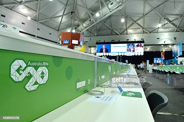 The international media centre hosting media from around the world for the G20 Summit is seen at the Brisbane Convention Exhibition Centre on...