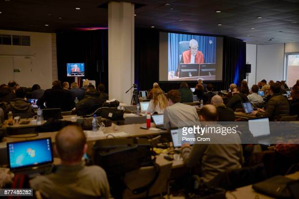 The international media listen to the verdict for Ratko Mladic's trial on November 22 2017 in The Hague The Netherlands Ratko Mladic's lawyer will...