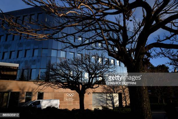 The International Olympic Committee headquarters are seen prior to an executive meeting on December 5 2017 in Pully near Lausanne The International...