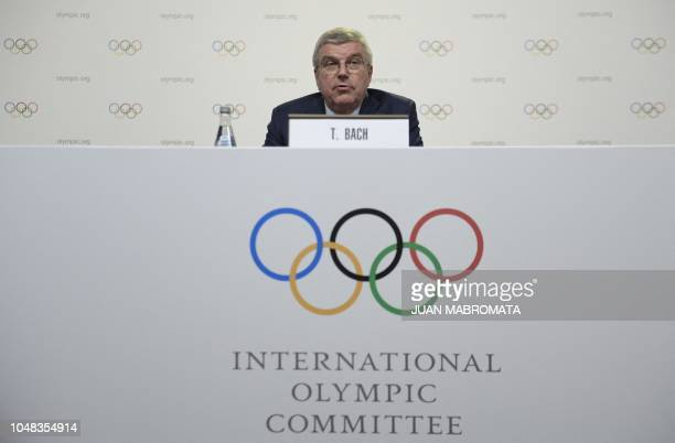 The International Olympic Committee President German Thomas Bach speaks during a press conference at the end of the 133rd IOC session on October 9...
