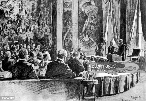 The International Peace Conference in the Orange Hall of the House in the Wood a royal palace in The Hague 1899 Drawing by J Hoynek