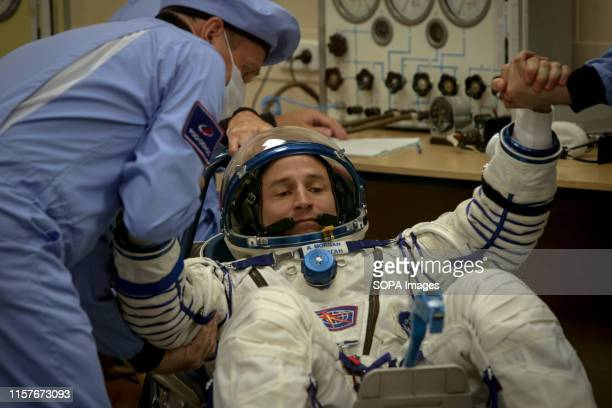 The International Space Station crew member Drew Morgan of NASA captured during the space suit check at the Baikonur Cosmodrome Kazakhstan