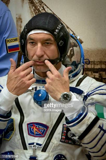 The International Space Station crew member Luca Parmitano of European Space Agency captured during the space suit check at the Baikonur Cosmodrome...