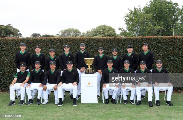 The International Team led by Ernie Els of South Africa pose for their group photograph during the official team photographs as a preview for the...