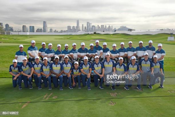 The International Team poses for a group photo the with International Junior Presidents Cup team prior to the start of the Presidents Cup at Liberty...