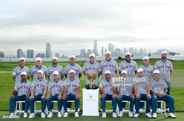 The International Team wear New York Mets Baseball jerseys as they pose for the official team photographs Tony Johnstone Mike Weir Adam Hadwin Si Woo...