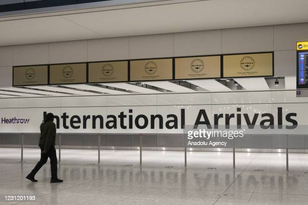 The international travellers arrivals areas of London Heathrow Airport in London, United Kingdom on February 2021. All travellers arriving in England...