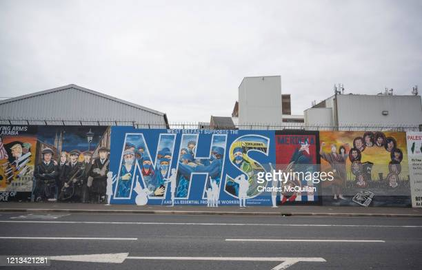 The International Wall of murals on the Falls road shows support for NHS frontline workers alongside republican murals on May 18 2020 in Belfast...