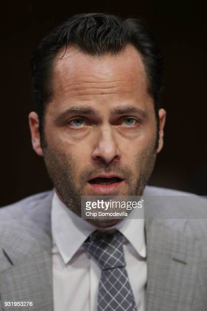 The Internet Association President and CEO Michael Beckerman testifies before the Senate Judiciary Committee about the February 14 massacre during a...