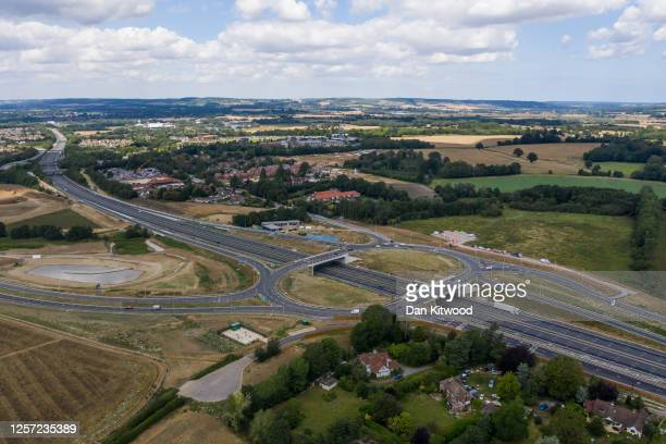 The intersection next to a field that has been acquired to accommodate a new Brexit customs clearance centre on July 20 2020 in Ashford Kent The...