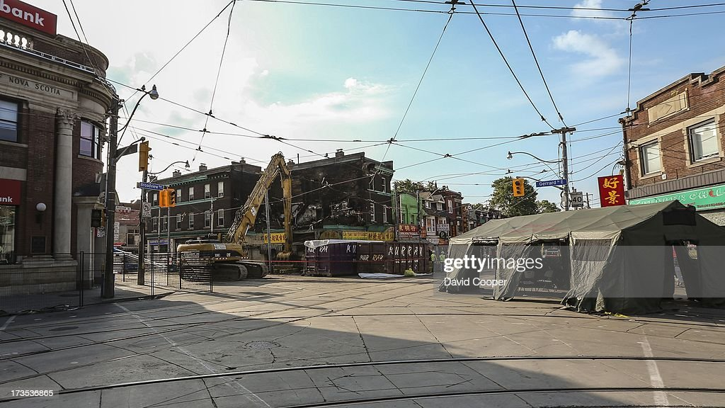 The Intersection of Broadview and Gerrard remains closed after a 4 alarm fire destroyed the building on the south east corner.
