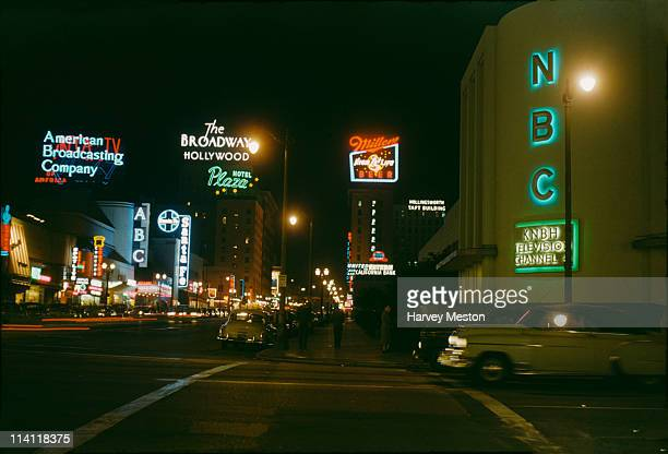 The intersection of Sunset Boulevard and Vine Street in Los Angeles California looking north circa 1950 On the right are the NBC Radio City Studios...