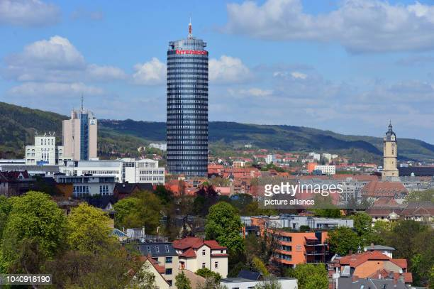 The Intershop Tower headquarters of Intershop Communications AG towers over all other buildings in the city of Jena Germany 4 May 2016 The software...