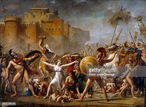 Hersilia and The Sabine Women stopping the battle between their Roman husbands and their Sabine brothers showing them their children Painting by...