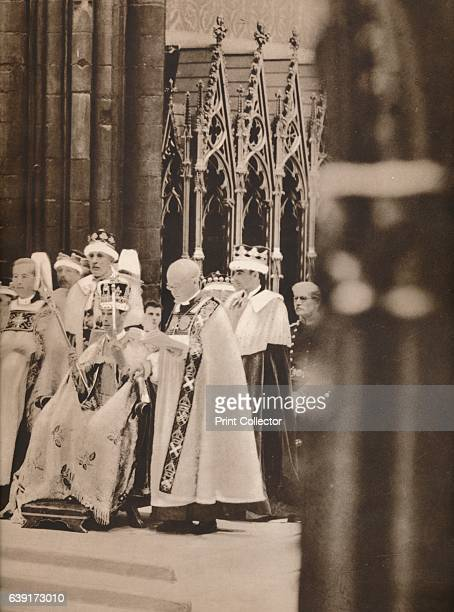 The Inthronization of His Majesty who is seen crowned and sceptred' 1937 With the Bearers of the Swords at his right hand and the Bishops of Durham...