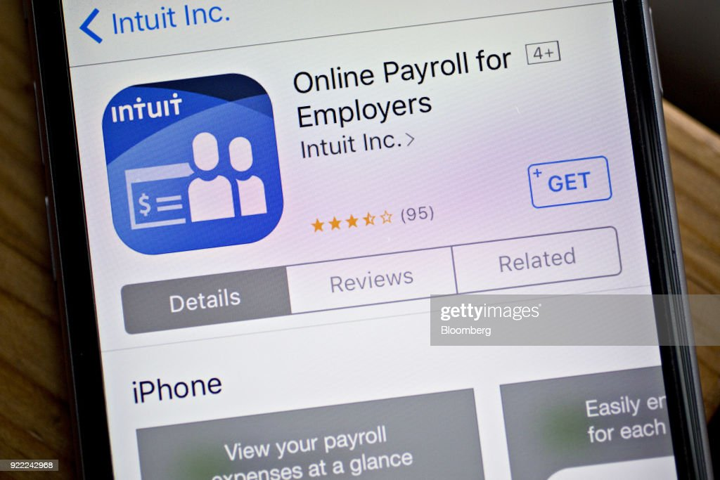 The Intuit Inc. Online Payroll for Employers application is seen in the App Store on an Apple Inc. iPhone in Washington, D.C., U.S., on Friday, Feb. 16, 2018. Intuit Inc. is expected to release earnings figures on February 22. Photographer: Andrew Harrer/Bloomberg via Getty Images