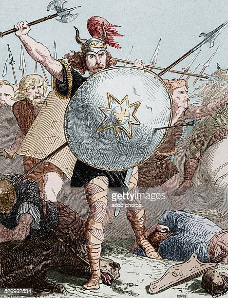 The invasion of Gaul by the barbarians M��rov��e the second king of the Salian Franks In the 5th century Coloured engraving