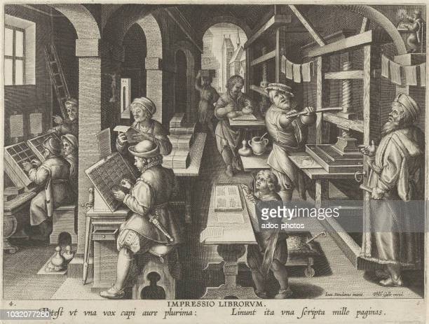 The Invention of Book Printing Engraving by Jan Collaert I Ca 1600
