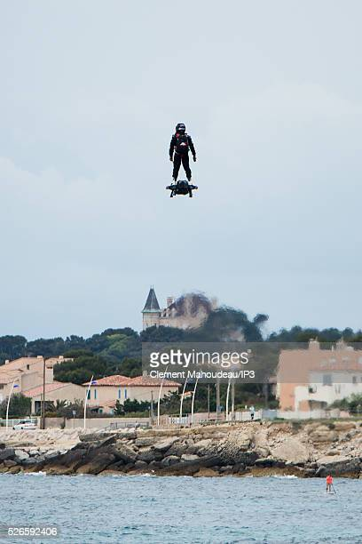 The inventor of a flying machine, Fly Board Air, Franky Zapata uses his creation on April 30, 2016 in Marseille, France. The Flyboard Air, with its...