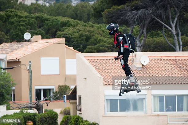 The inventor of a flying machine Fly Board Air Franky Zapata uses his creation on April 30 2016 in Marseille France The Flyboard Air with its company...