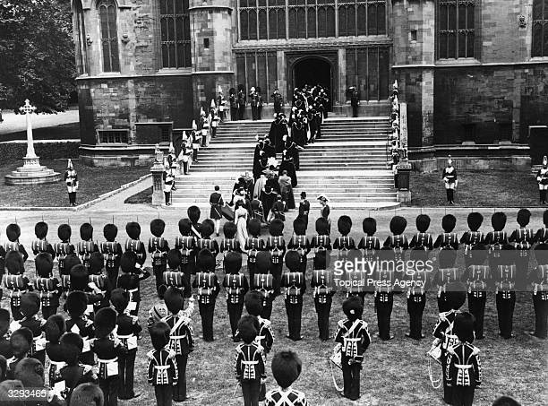 The investiture of Edward VIII eldest son of George V created Knight of the Garter at Windsor Castle as Prince of Wales Edward VIII ascended the...