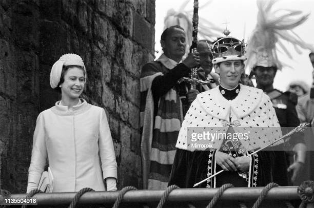 The Investiture of Prince Charles at Caernarfon Castle, Caernarfon, Wales, Pictured, Prince Charles, newly installed as Prince of Wales, is presented...