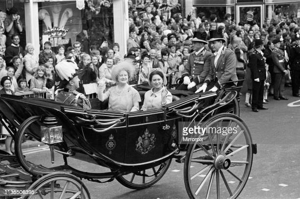 The Investiture of Prince Charles at Caernarfon Castle, Caernarfon, Wales, Pictured in a carriage are Queen Elizabeth The Queen Mother and Princess...