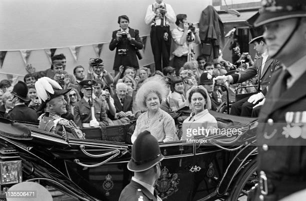 The Investiture of Prince Charles at Caernarfon Castle Caernarfon Wales Pictured in a carriage are Queen Elizabeth The Queen Mother and Princess...