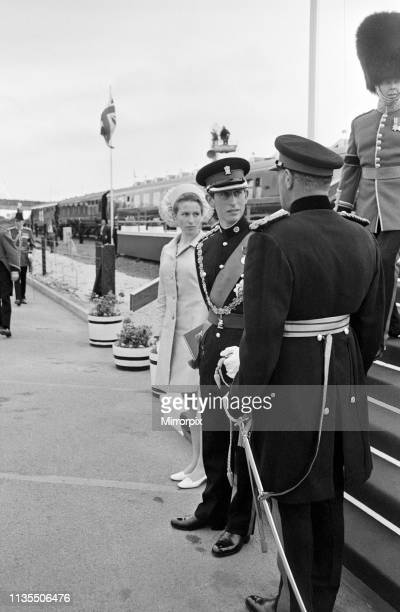 The Investiture of Prince Charles at Caernarfon Castle, Pictured arriving for the investiture, Prince Charles and Princess Anne, Caernarfon, Wales,...
