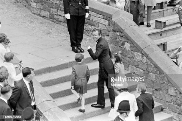The Investiture of Prince Charles at Caernarfon Castle Pictured Lord Snowdon in constable's uniform arrives with his children Caernarfon Wales 1st...