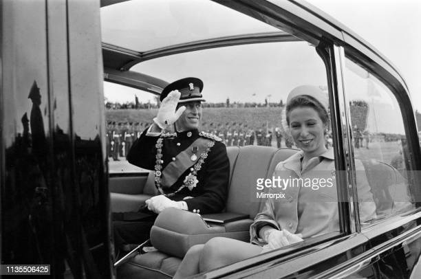 The Investiture of Prince Charles at Caernarfon Castle, Pictured on their way to the investiture, Prince Charles and Princess Anne, Caernarfon,...