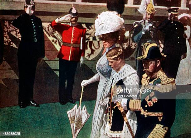 The investiture of the Prince of Wales Carnarvon Castle 19111912 Reproduced from a Kinemacolor film On the death of his father King George V in...