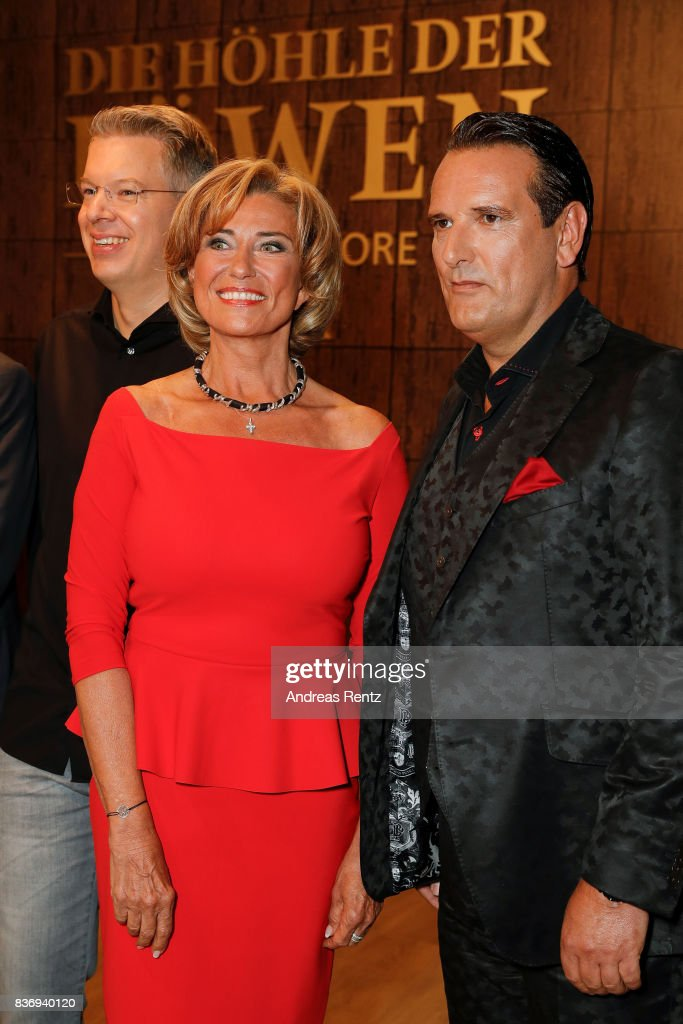 The investors Frank Thelen, Dagmar Woehrl and Ralf Duemmel pose for a group picture during the photo call for the fourth season of the TV show 'Die Hoehle der Loewen' on August 22, 2017 in Cologne, Germany.