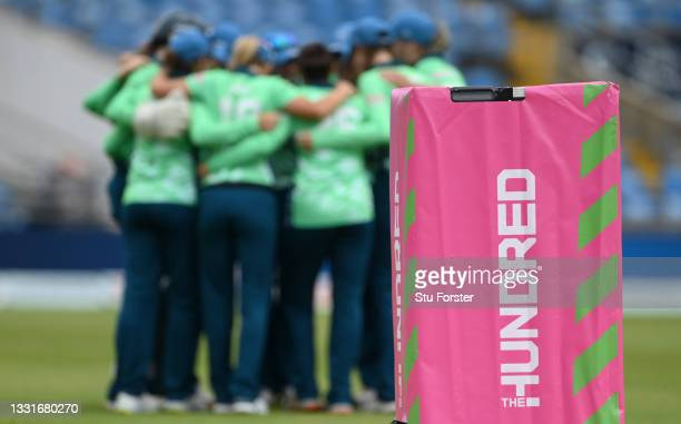 The Invincibles huddle during The Hundred match between Northern Superchargers Women and Oval Invincibles Women at Emerald Headingley Stadium on July...
