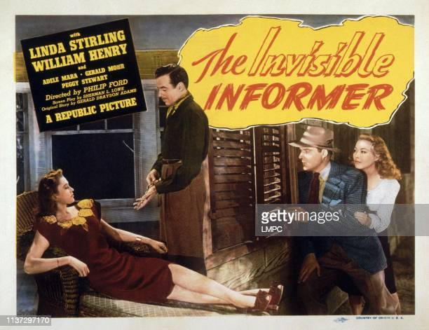 The Invisible Informer lobbycard from left Linda Stirling Gerald Mohr William Henry Adele Mara 1946