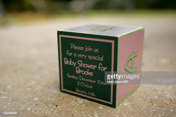 The invitation announcing the Baby Shower for Brooke Burke is seen at a private residence on December 10 2006 in Beverly Hills California