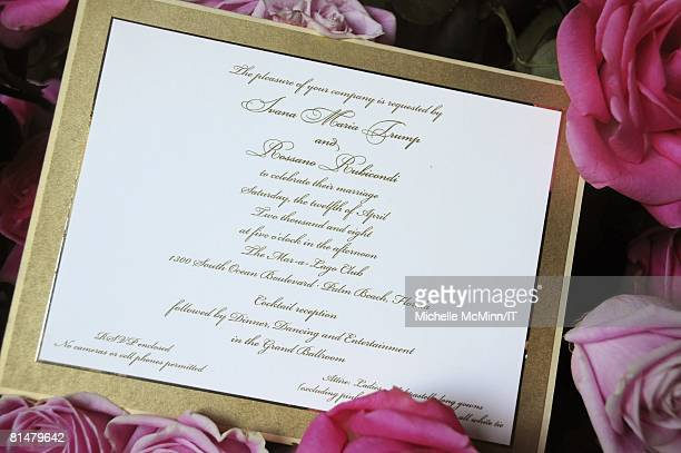 The invitation for the wedding of Ivana Trump and Rossano Rubicondi at the MaraLago Club on April 12 2008 in Palm Beach Florida
