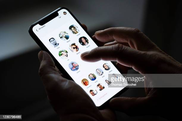 The invitation-only audio-chat social networking app clubhouse is pictured on a smartphone on January 26, 2021 in Berlin, Germany.