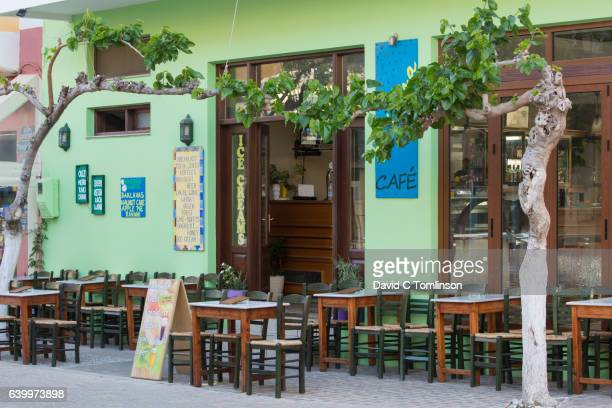 The inviting terrace of a typical taverna, Paleohora, Crete, Greece