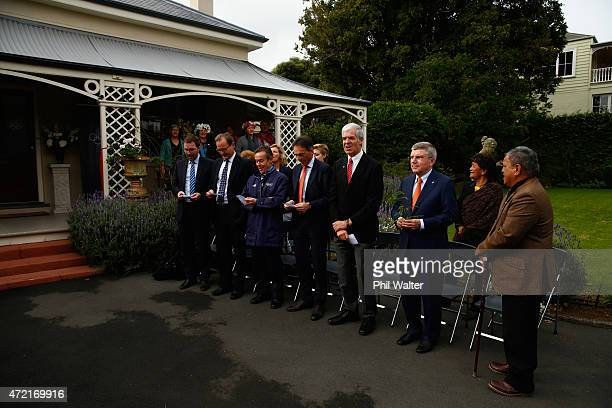The IOC delegation take part in a sing along during a Powhiri to officially open Olympic House during a visit by IOC President Thomas Bach on May 5...